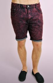 Red Slim Fit Acid Wash Shorts